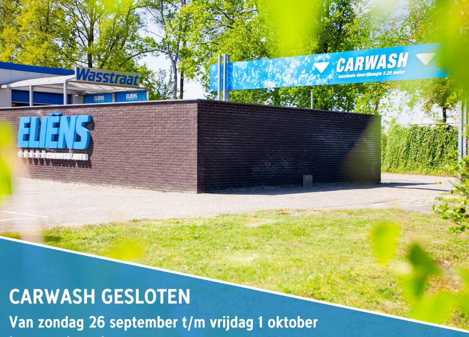 Carwash gesloten i.v.m. verbouwing